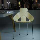 LUCKY LOVE Dining Chair - wooden seat and chrome frame  2