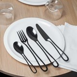 Glossy black OUTLINE cutlery 24 pieces dining set 5