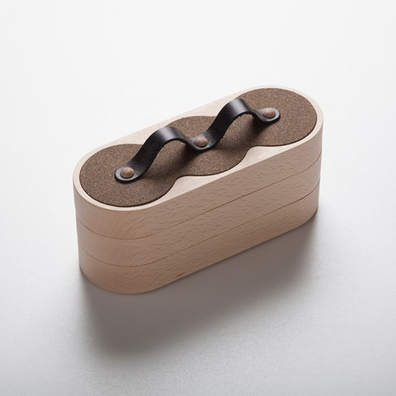 Boîte emboîtable 3x3 - liège / cuir noir - Design : Philibar