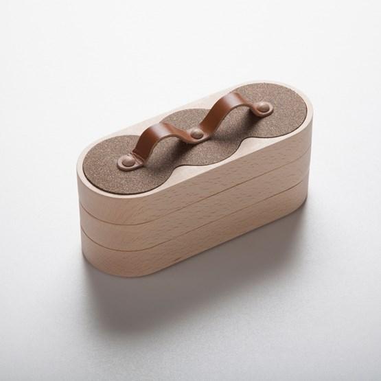 Nestable boxe 3x3 Cork / Fawn leather - Design : Philibar