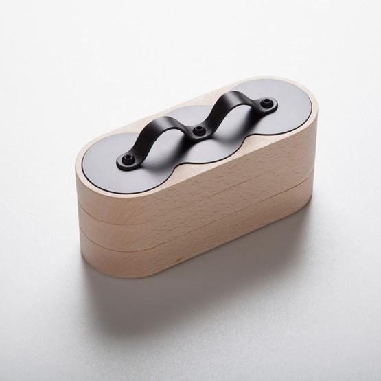 Boîte emboîtable 3x3 Acier / Cuir noir - Design : Philibar