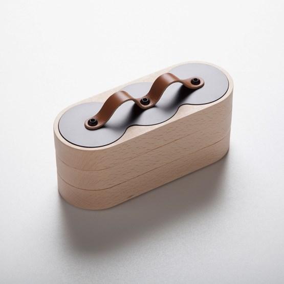Boîte emboîtable 3x3 Acier / Cuir fauve - Design : Philibar