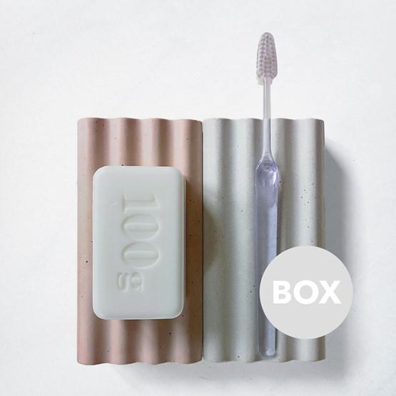 Duo d'accessoires béton SOCLES - Box - Design : Label Famille