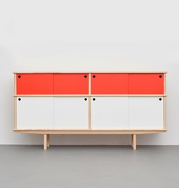 SPLITTER Sideboard white, red 2 x 1 + 1/2 ST4