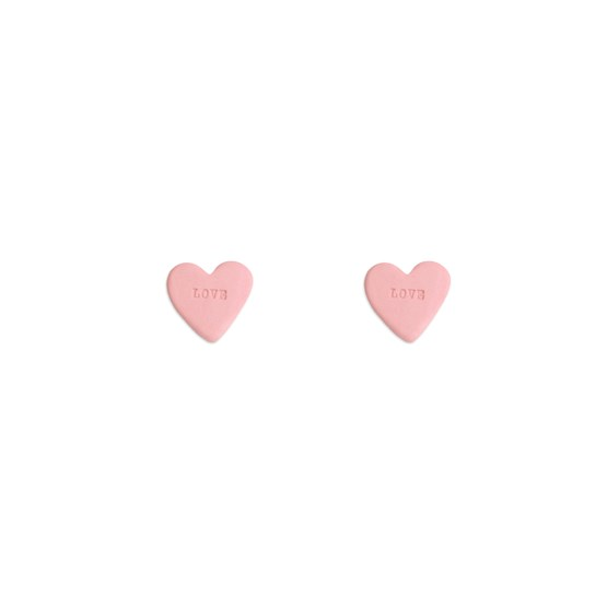Pink Candy Heart porcelain earrings - Design : Stook Jewelry