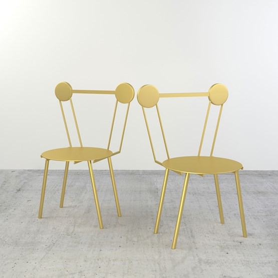 Set of 2 Haly chairs - gold - Design : Chapel Petrassi