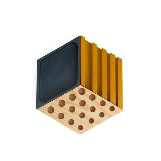 Organiseur de bureau KESITO - Bleu, jaune et pin - Design : WOODENDOT