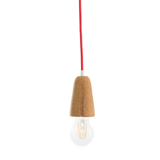 Suspension SININHO - liège clair et câble rouge - Design : Galula Studio
