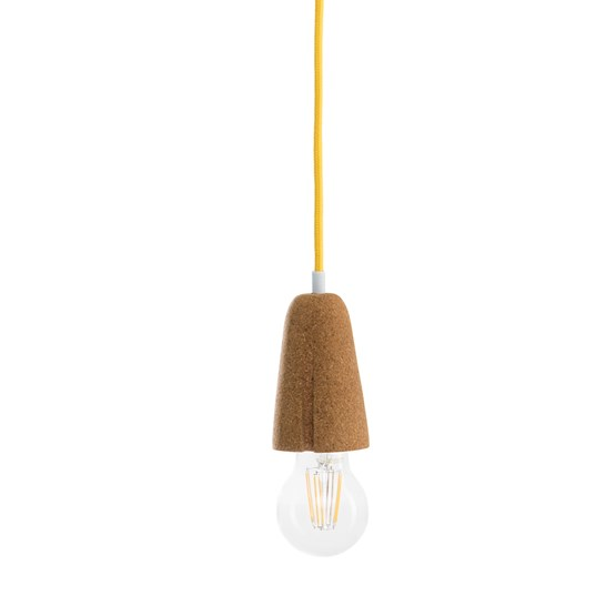 SININHO | pendant lamp - light cork and yellow cable  - Design : Galula Studio