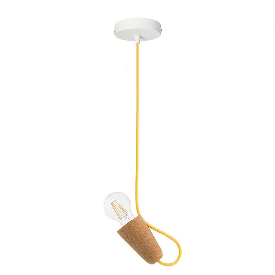 SININHO | pendant lamp - light cork and yellow cable  - Design : Galula Studio