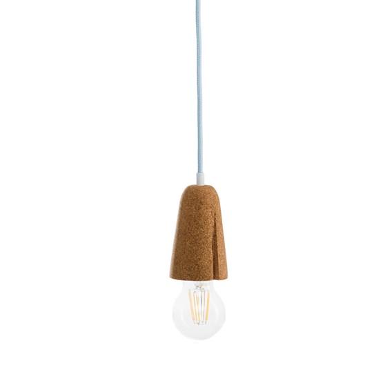 SININHO | pendant lamp - light cork and light blue cable  - Design : Galula Studio
