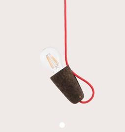 Suspension SININHO -  liège foncé et câble rouge