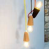 SININHO | pendant lamp - dark cork and red cable  6