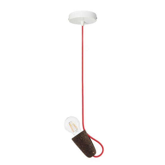 SININHO | pendant lamp - dark cork and red cable  - Design : Galula Studio