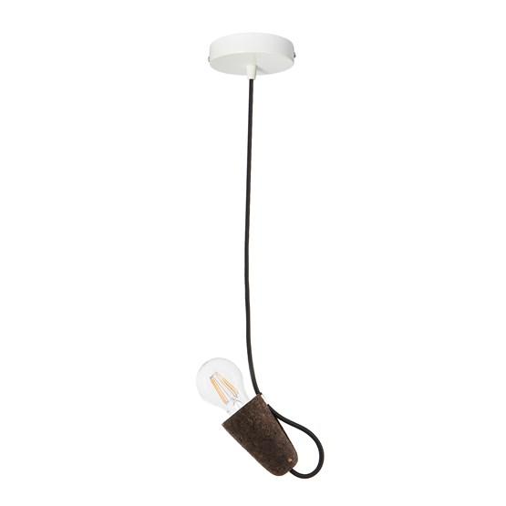 SININHO | pendant lamp - dark cork and black cable  - Design : Galula Studio