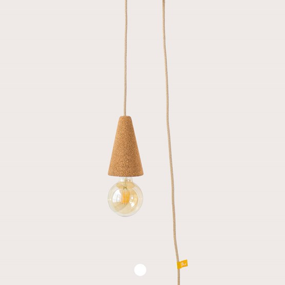 SINO POSE | hand lamp -  light cork and beige cable - Design : Galula Studio