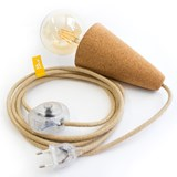 SINO POSE | hand lamp -  light cork and beige cable 3