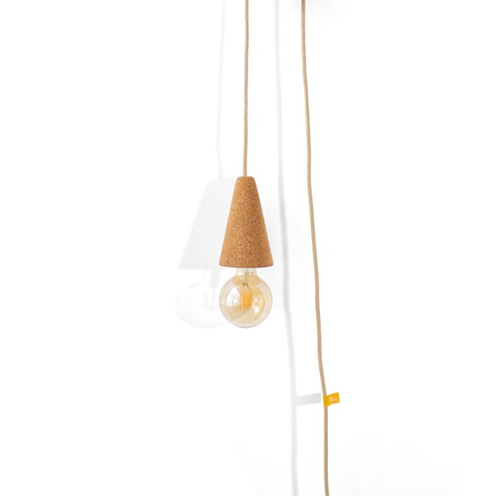 SINO POSE | hand lamp -  light cork and beige cable - Design : Galula Studio