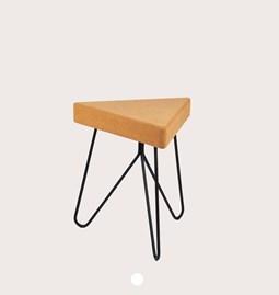 Tabouret/Table TRÊS -  liège clair et piètement noir