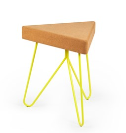 TRES | stool or table -  light cork and yellow legs