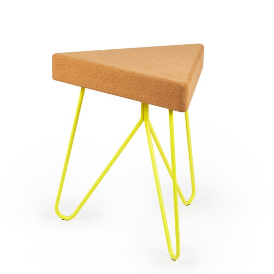 TRES | stool or table -  light cork and yellow legs - Design : Galula Studio