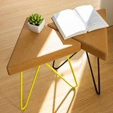 TRES | stool or table -  light cork and yellow legs 9