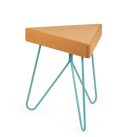 TRES | stool or table -  light cork and blue legs - Design : Galula Studio