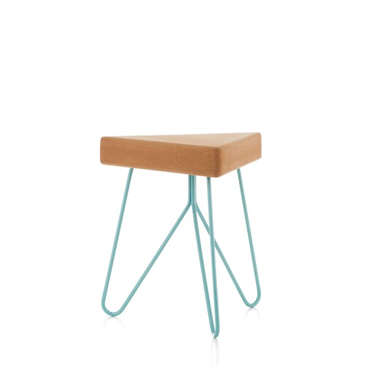 TRES | stool or table -  light cork and blue legs - Design : Galula Studio