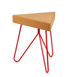 TRES | stool or table -  light cork and red legs