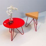 TRES | stool or table -  light cork and red legs 3