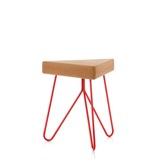 TRES | stool or table -  light cork and red legs - Design : Galula Studio
