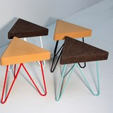 TRES | stool or table -  light cork and red legs 4