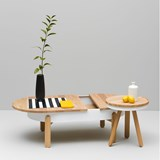 BATEA L coffee table - oak/white 3
