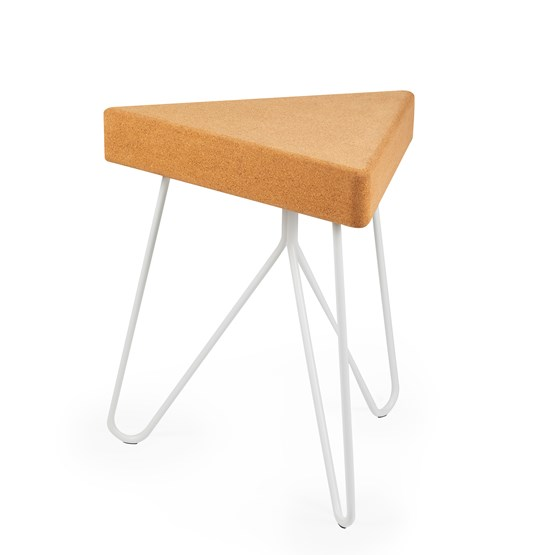 TRES | stool or table -  light cork and white legs  - Design : Galula Studio