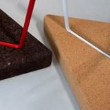 Tabouret/Table TRÊS -  liège clair et piètement blanc 6