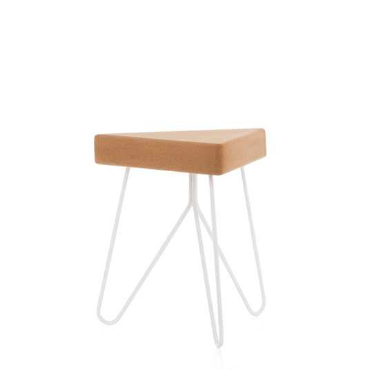 Tabouret/Table TRÊS -  liège clair et piètement blanc - Design : Galula Studio