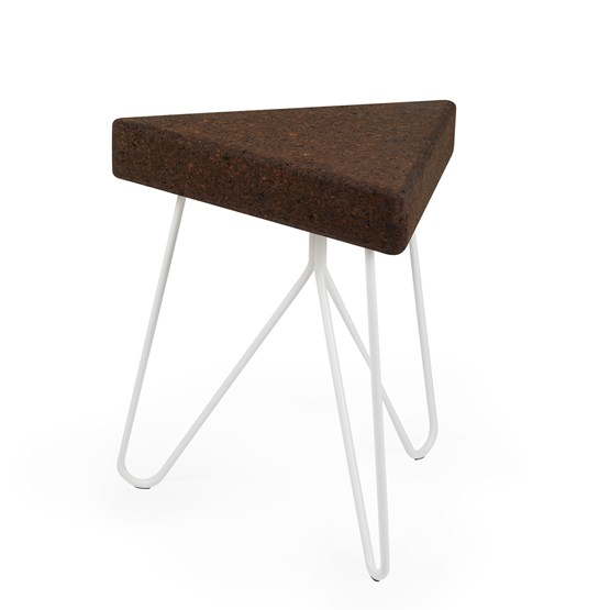 Tabouret/Table TRÊS -  liège foncé et piètement blanc - Design : Galula Studio