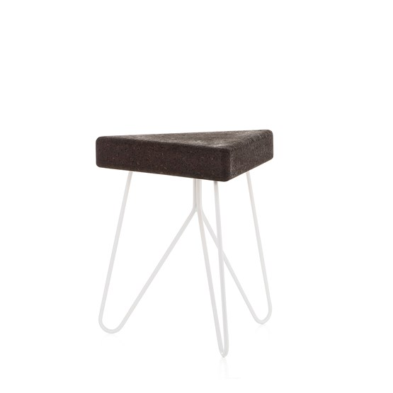TRES | stool or table -  dark cork and white legs  - Design : Galula Studio