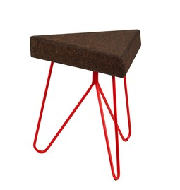 TRES | stool or table -  dark cork and red legs