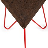 TRES | stool or table -  dark cork and red legs  8