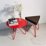 TRES | stool or table -  dark cork and red legs  9