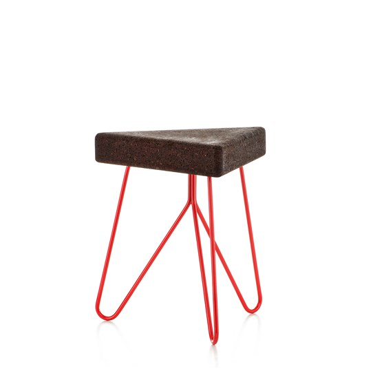 TRES | stool or table -  dark cork and red legs  - Design : Galula Studio