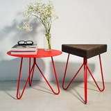 TRES | stool or table -  dark cork and red legs  3