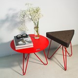 TRES | stool or table -  dark cork and red legs  5