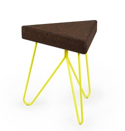 TRES | stool or table -  dark cork and yellow legs