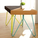 TRES | stool or table -  dark cork and yellow legs 4