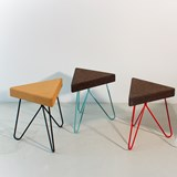 TRES | stool or table -  dark cork and blue legs 9