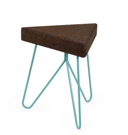 TRES | stool or table -  dark cork and blue legs