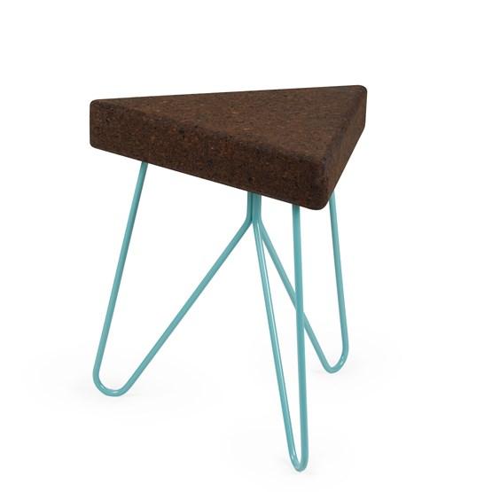 Tabouret/Table TRÊS -  liège foncé et piètement bleu  - Design : Galula Studio