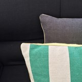 Striped green linen cushion MIX&MATCH - Designerbox X CELC 4